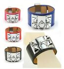 Women Genuine Real Leather Pyramid Bracelet Punk Studs Bangle Designer Ring Cuff