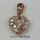 8mm Heart Shaped Cut Morganite with Diamonds Pendant for Necklace,14K Rose Gold