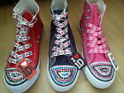 BNIB LADIES/OLDER GIRLS ONE DIRECTION CUSTOMISED HI TOPS/PUMPS TRAINERS SIZE 3-8