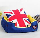 New British style Oxford Pet Dog Cat Bed Sofa House Kennel Blue+Yellow S,M