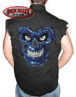 TERMINATOR SKULL Sleeveless Denim Shirt Biker Cut ~ Blue Biomechanical MMA