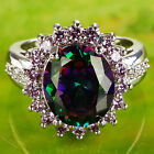 Oval Cut Rainbow Colored Topaz Gems Silver Ring Size 6-10 Dating Jewelry R859