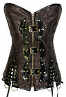 Black Brown Steampunk Corset with Bottom sexy women bustier gothic clothing