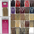 "15-22""100% Straight Clip-In RealRemy Human Hair Extension Multicolor 7PCS 70/80g"