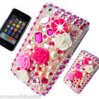 NEW BLING CASE PINK FLOWER DIAMANTE PROTECTIVE CASE COVER iPhone 5 5S 5C 6s 4S 7