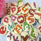 "5/8"" 15mm Mixed Letter Pattern Wood Buttons Fit Sewing Buttons Craft Scrapbook"