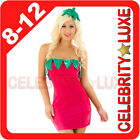 New Ladies Strawberry Fruit Fancy Dress Costume Party Outfit Fairytale Cartoon