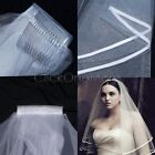 MON - White or Ivory 2T Wedding Bridal Veil Satin Edge with Comb Elbow