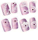 3D Nail Art Stickers Decal Pink Flower Lace Butterfly Flowers French Tip Crystal