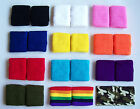 Pair cotton WRISTBANDS SWEATBANDS sports fitness tennis squash CHOOSE COLOUR