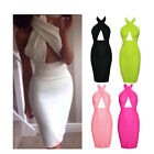 Sexy Women Bodycon Backless Halter Casual Midi Cocktail Party Pencil Dress G