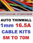 1.0MM AUTO CABLE, 12/24V THINWALL CABLE KITS, 16.5 AMP VARIOUS LENGTHS UPTO 70M