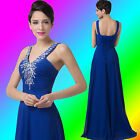 Long Chiffon Ruched Wedding Evening Formal Party Ball Gown Prom Bridesmaid Dress