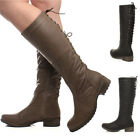WOMENS LADIES LOW HEEL BIKER MILITARY LACE UP BACK ZIP WINTER CALF BOOTS SIZE