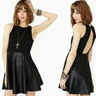 Women hot Backless Black Leather High Waist Full Skirt Pleated A-Line Tank Dress