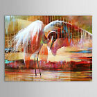 Original Hand Painted Oil Painting Animal Two Swan Looking for Foods Canvas Art
