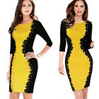 Sexy Womens Optical Illusion 3/4 Sleeve Floral Lace Bodycon Party Evening Dress