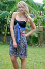 NEW Kim's Hot Party Dress Silk Blue Leopard Print Bandeau Cocktail 6 12 14