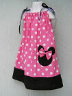 CSTMD Minnie Mouse Girls Pillowcase Dress Size 3T-9 Yrs Pink Red Summer Park