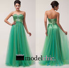 Green Crystal Strapless Tulle Prom Bridesmaid Wedding Maxi Dress Size AU6-20