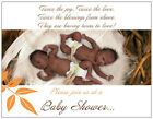 Custom African American TWINS Boy Girl Shower INVITATIONS  Postcards Flat Cards