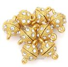 8mm Golden Round Ball Crystal Rhinestone Strong Magnetic Clasps Jewelry, 5 Pcs