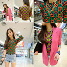 Sweet Girl Short Sleeve Geometric Floral Print Summer Chiffon Top T-Shirt Blouse