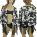 Palm Tree Tropical Cover up Beach Kaftan Kimono Fringe Tassel Holiday Top