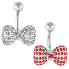 Jeweled Bow Tie Belly Button Ring - CZ - Navel Piercing 14G