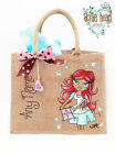 Personalised Jute Bag Hand Painted Dottie H XL- Sewing Suki