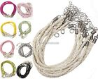 10Pcs PU Leather Braided Rope Necklace Charms Findings String Cord 3mm,12Colors