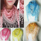 Fashion Lady Print Flower Fringes Lace Shawl Wrap Stole Scarf Gift for Girl Hot
