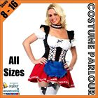 Womens Red and Blue Oktoberfest Beer Maid Ladies Fancy Dress Costume Size 8 - 16