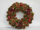 CHRISTMAS DOOR WREATH CONES APPLES BERRIES LEAVES FLOWERS 3 SIZES