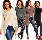 Ladies Longer Knitted Wrap Over Coat Poncho New Soft Knit Jumper One Size