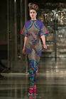 Vintage Colorful Scale Printed Stretch Knit Maxi Celebrity Runway Dress