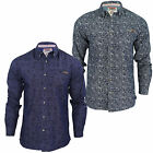 Mens Denim Shirt Floral Print Tokyo Laundry Shirts Lasky Hoffa Stone Wash Cotton