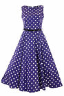 Lady Vintage Audrey Hepburn Cadbury Purple Polka Dot Dress 1950s Style SIZE 8-28