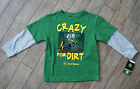 John Deere Tractor Boys Mock Layered Shirt Crazy For Dirt