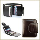 Women Genuine Leather Short Bifold Snap Wallet Purse ID Card Holder Window Zip