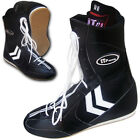 Leather Boxing Shoes Long Anklet Shoes Real Leather Boxing Boots Black