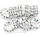 15Pcs Silver/Gold Plated shiny Crystal Rhinestone Big Hole Metal Spacer Beads