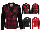 NEW WOMENS LADIES ZIP BUTTON COAT BIKER BLACK JACKET TARTAN CHECK SIZE 8-14