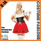 New Womens Red & Black Oktoberfest Beer Maid Wench Ladies Fancy Dress Costume