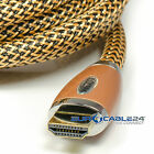 Eurocable24® GoldLine Gold HDMI Nylongeflecht SatelitenTV 1.4 zertivitiert LED
