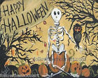 Happy Halloween Sitting Skeleton Owl Pumpkins Fall Autumn FTMA Wall Art Print