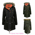 NEW LADIES FISHTAIL PU HOODED FUR PARKA WOMENS LINED JACKET COAT SIZES 8-20