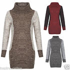 LADIES WOMENS COWL NECK CONTRAST KNITTED LONG JUMPER TUNIC DRESS TOP PLUS SIZES