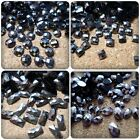 Faceted Resin Flatback Cabochons - Black/Silver - Various Sizes/Shapes Available