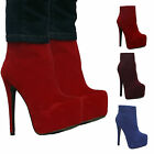 WOMENS ANKLE BOOTS LADIES FAUX SUEDE HIGH HEEL ZIP STILETTO PLATFORM BOOTS SHOES